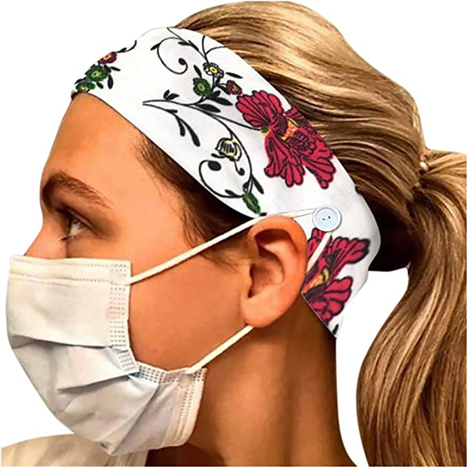 A Bylater Headbands for Women Vintage Printed Hairband with Buttons on Sides Head Scarf Girls Elastic Boho Sweatband Hair Wrap