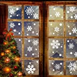 Leoie Snowflake Shape Wall Sticker Removable Static Art Mural for Christmas Window Glass Door Decoration 76pcs/Set