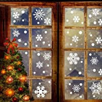 BeesClover - Juego de 76 calcomanías de pared con forma de copo de nieve extraíbles para decoración navideña de ventanas…