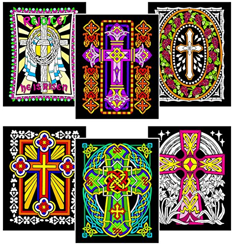 Stuff2Color Crosses - 6 Pack of Fuzzy Velvet Coloring Posters -
