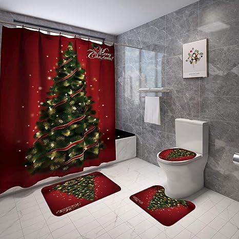 Amazon Com Artifun Christmas Bathroom Decorations Set Toilet Seat Cover Rug Shower Curtain Sets Red Christmas Tree Bathroom Decor Home Kitchen