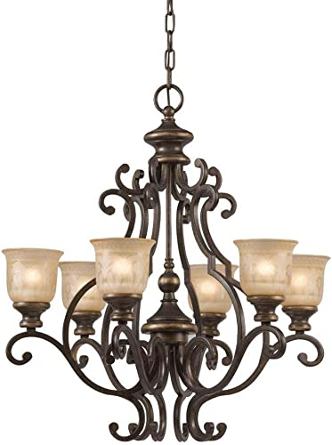 Crystorama 7416-BU Traditional Six Light Chandeliers from Norwalk collection in Bronze Darkfinish,