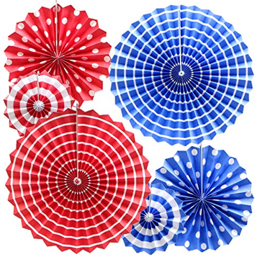 OMyTea Hanging Paper Fans Decorations Kit for Wall - Set of 6 Circle Rosettes Tissue Paper Fans Bulk for Party Favors, Wedding, Birthday, Festival, Christmas, Events, Home Decor (Blue & Red) ()