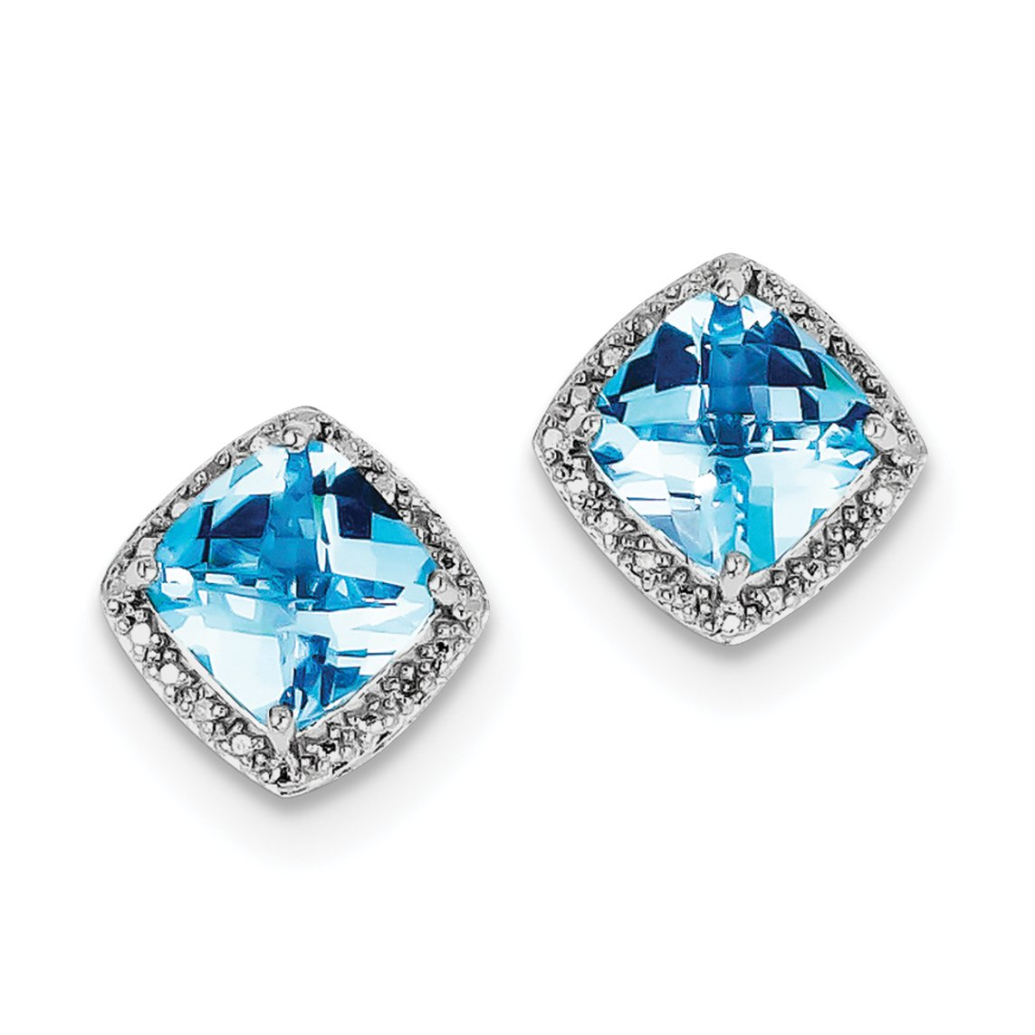 ICE CARATS 925 Sterling Silver Blue Topaz Diamond Post Stud Ball Button Earrings Fine Jewelry Gift Set For Women Heart
