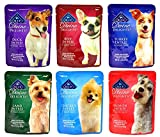 Blue Buffalo Divine Delights Wet Dog Food Variety Pack - 6 Flavors (Duck, Lamb, Chicken, Turkey, Salmon, and Beef) - 3oz Each (6 Total Pouches)