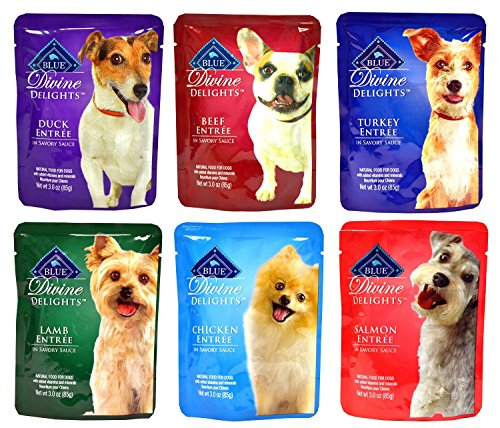Blue Buffalo Salmon Dinner (Blue Buffalo Divine Delights Wet Dog Food Variety Pack - 6 Flavors (Duck, Lamb, Chicken, Turkey, Salmon, and Beef) - 3oz Each (6 Total Pouches))