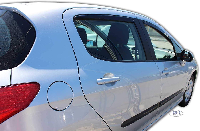 J/&J AUTOMOTIVE Deflecteurs dair D/éflecteurs de Vent Compatible avec Peugeot 308 5 Portes 2007-2012 2pcs