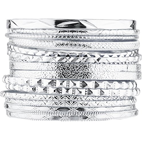 (Lux Accessories Silver Tone Aztec Etched Cased Multi Bangle Set of 15)