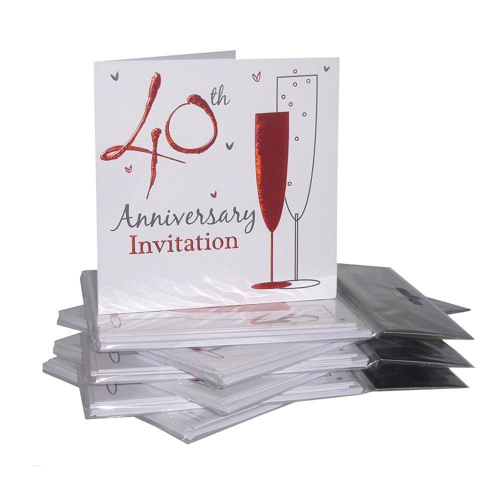 40th ruby wedding anniversary party invitations holographic 36 40th ruby wedding anniversary party invitations holographic 36 cards with envelopes amazon toys games stopboris Choice Image