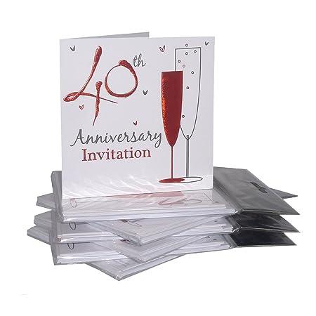 40th Ruby Aniversario De Boda Tarjetas De Invitación Para