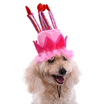 Dog Birthday Hat Legendog Pet Party Candles Pattern Cake Accessory Costume
