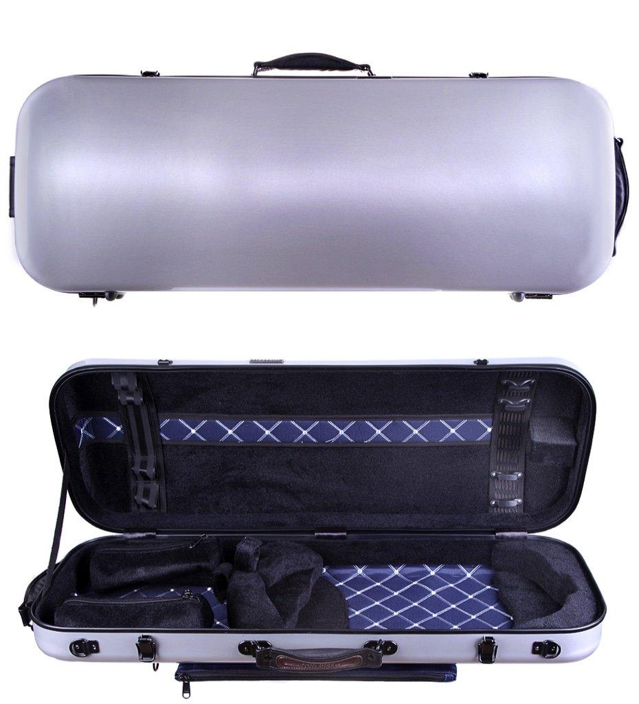 Tonareli Viola Oblong Fiberglass Case - Silver VAFO 1002 - Includes attachable music bag - Adjustable to over 18 inches