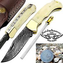 "Camel Bone 6.5""Handmade Damascus Steel Folding Pocket Knife With Back Lock 100% Prime Quality"