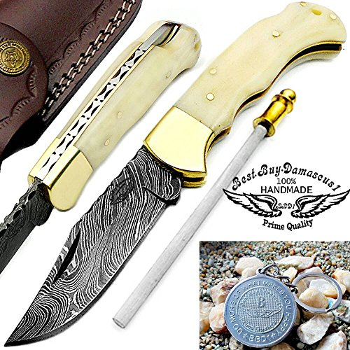 "Camel Bone 6.5"" Handmade Damascus Steel Brass Bloster plus Sharpening Rod Folding Pocket Knife Back Lock 100% Prime Quality"