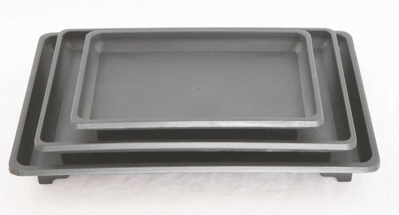 3 MIx Rectangular Black Plastic Humidity Tray for Bonsai Tree 7'', 9'' & 10.5'' by Calibonsai