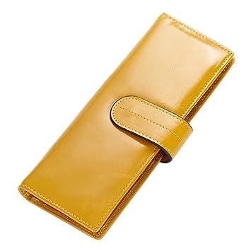 esdrem piel organizador de tarjetas de nombre de la empresa titular de la tarjeta de Crédito Cartera ID de tarjeta caso con ventana amarillo: Amazon.es: ...