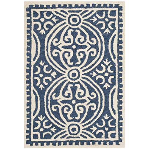 Blue Wool Rug (Safavieh Cambridge Collection CAM123G Handcrafted Moroccan Geometric Navy Blue and Ivory Premium Wool Area Rug (2' x 3'))