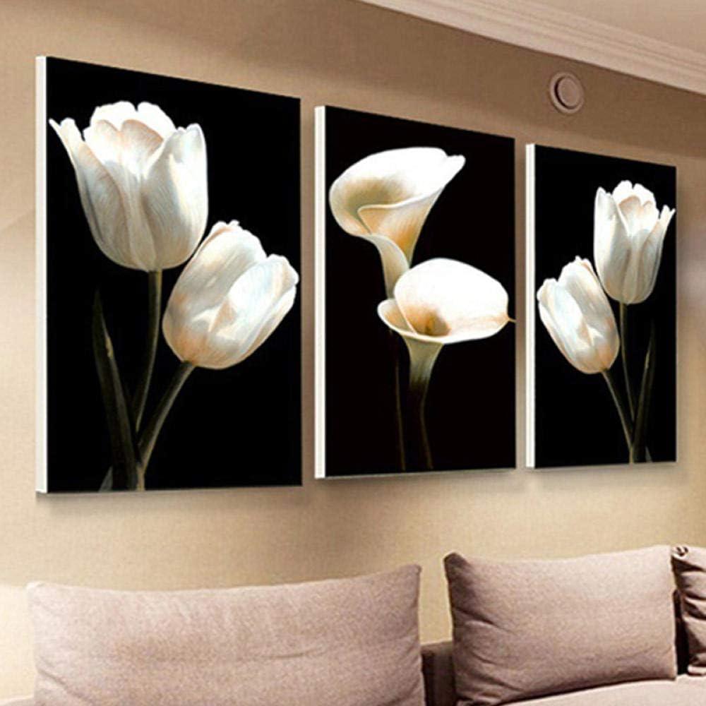 Pintura Hermosa Tulipán Blanco Cala Flores tríptico Hogar Sala de Estar Decoraciones Lienzo Imagen Arte en la Pared Artesanía 40X60cmX3 Sin Marco