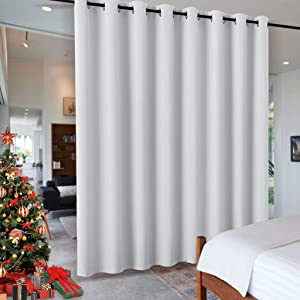 RYB HOME White Separation Room Divider Heavy Duty Share Space Decorative Gift Christmas, Partiton Grommet Top Drape for Patio Sliding Door/Clinic/Hospital, W 15 x L 8 ft, Greyish White, 1 Panel