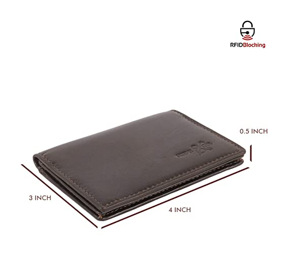 aa631d86cae07a Amazon.com: Slim Leather ID/Credit Card Holder Bifold Front Pocket Wallet  with RFID Blocking: Clothing