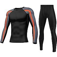 SKYSPER Ropa Interior Térmica Hombre Conjuntos Térmicos Camiseta Térmica Manga Larga Pantalones Largos de Compresión…