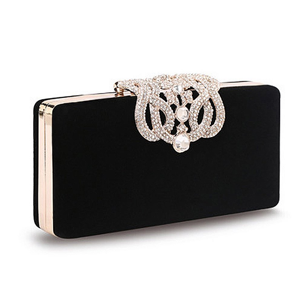 Crystal Diamante Clutch Bag, Womens Fashion Designer Evening Bag Ladies Bridal Wedding Party Purse Handbag (Black)