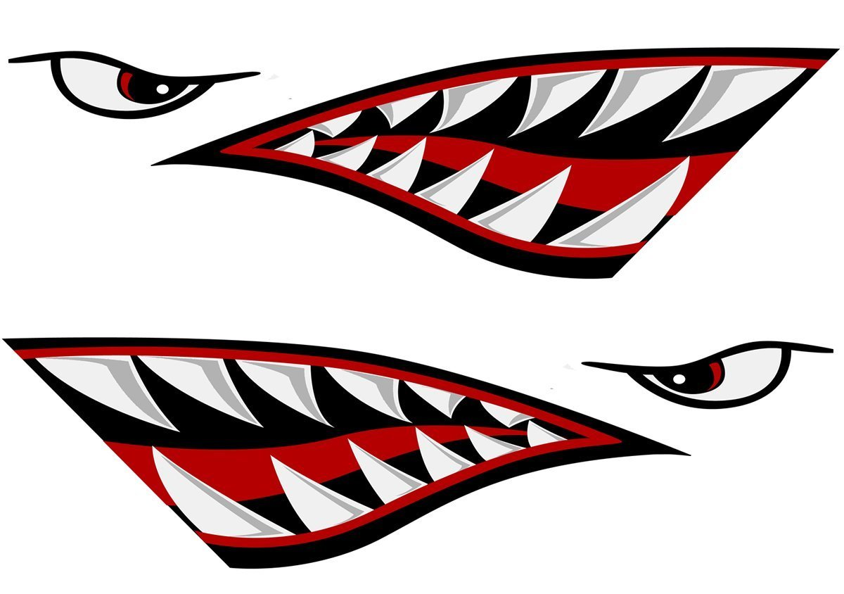 Left and Right Big Set | | | Shark Teeth Mouth Decals Sticker Fishing Boat Canoe Car Truck Kayak Graphics Accessories