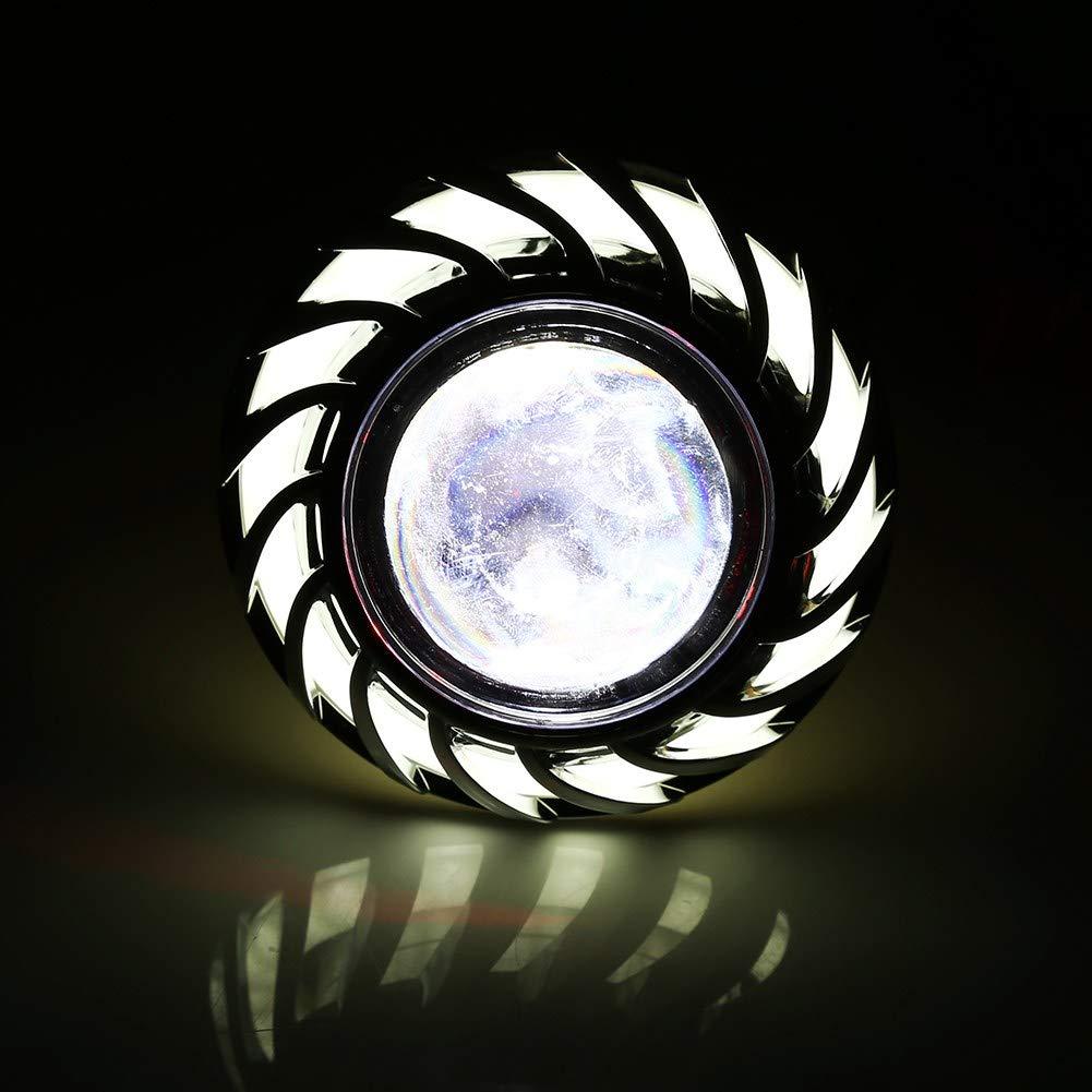 Yctze Alliage daluminium de moto en plastique phare phare LED Projecteur Lens Dual Halo Angel Devil Eye Spot Light blanc