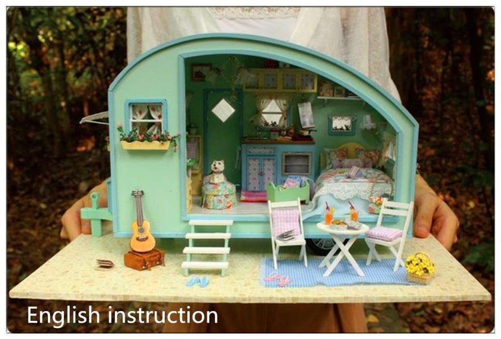 Homemade Dolls House Furniture. Diy Wooden Dolls House Handcraft Miniature  Kit Caravan Model \