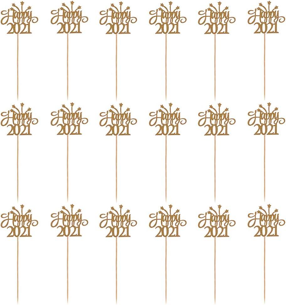 TOYANDONA 2021 - Lote de 30 adornos de purpurina para decoración de fiestas (oro)