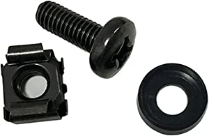 Lancher 60-Pack M6 x 16mm Screws and Cage Nuts for Server Shelf Cabinets Rack Mount Screw cage nut - Black