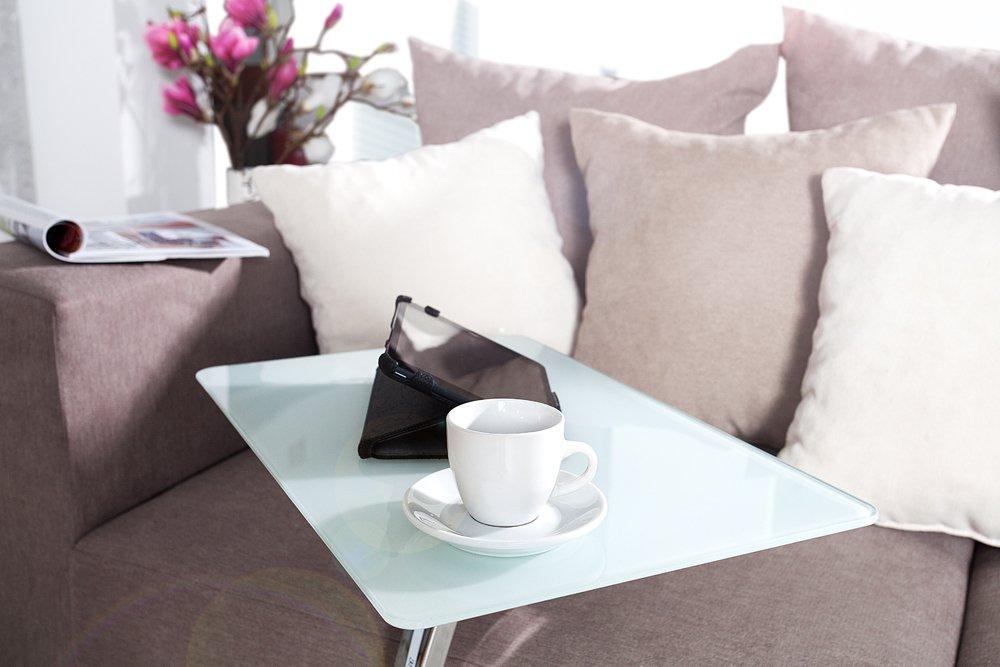 Design TABLET LAPTOP BUTLER Tisch Beistelltisch Weiss Laptoptisch Glastisch Glasplatte Amazonde Kche Haushalt