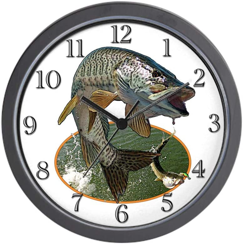 Musky Fishing Unique Decorative 10 Wall Clock CafePress