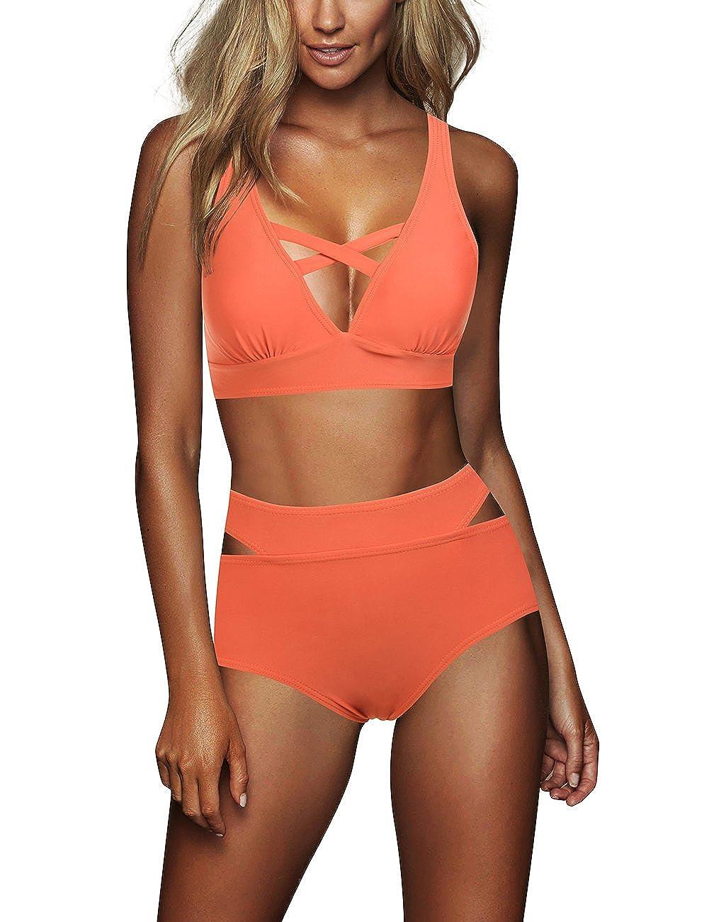 orange FeelinGirl Women's B Cup Beauty Floar Lace Bustier Party Crop Top Bra