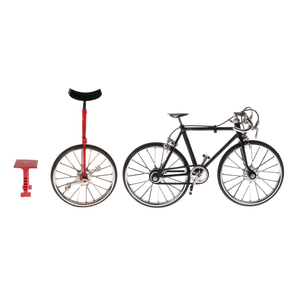 SM SunniMix 2pcs Realistic Unicycle Bicycle 1:10 Scale 3D Metal Road Bike Model Kit, Gift for Bike Model Lover or Collector, for Coffee Bar Display Ornaments