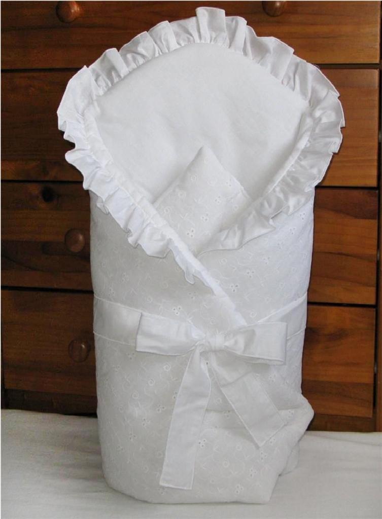 Embroidered Baby Swaddle Wrap/Swaddling Blanket 80x80cm - WHITE Babycomfort