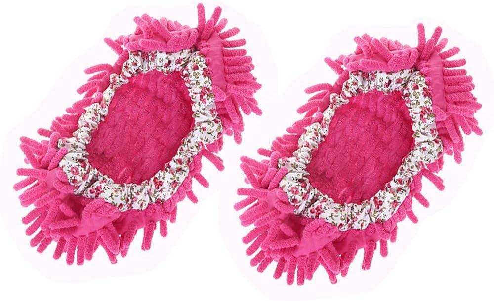 Amaoma 1 par de zapatillas de estar por casa con felpilla desmontable para fregar el suelo, limpieza de suelo, fregona, color rosa, rojo
