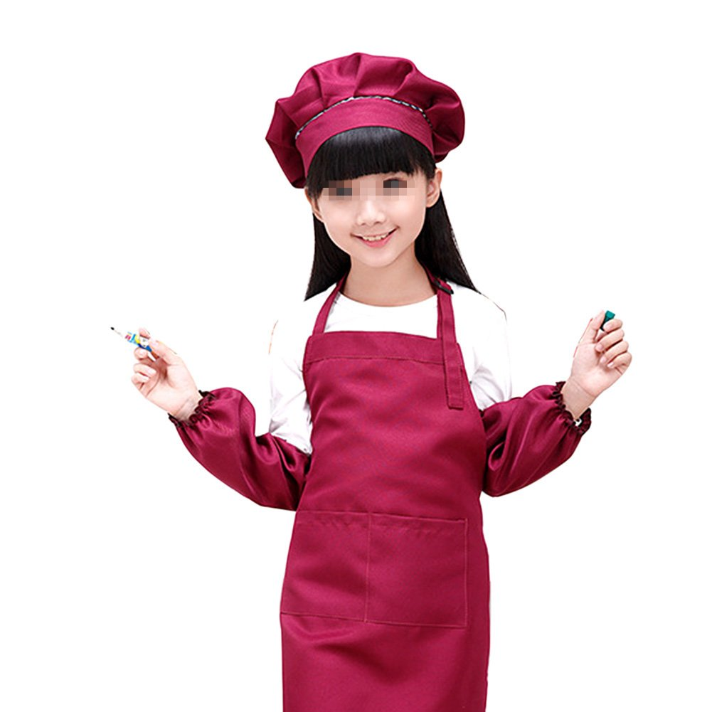 SEADEAR Waterproof Anti-oil Adjustable Durable Children's Aprons Fashion Apron with Hat Sleeves For Painting Kindergarten Art Museum Cooking 7-12 years old(Red wine)