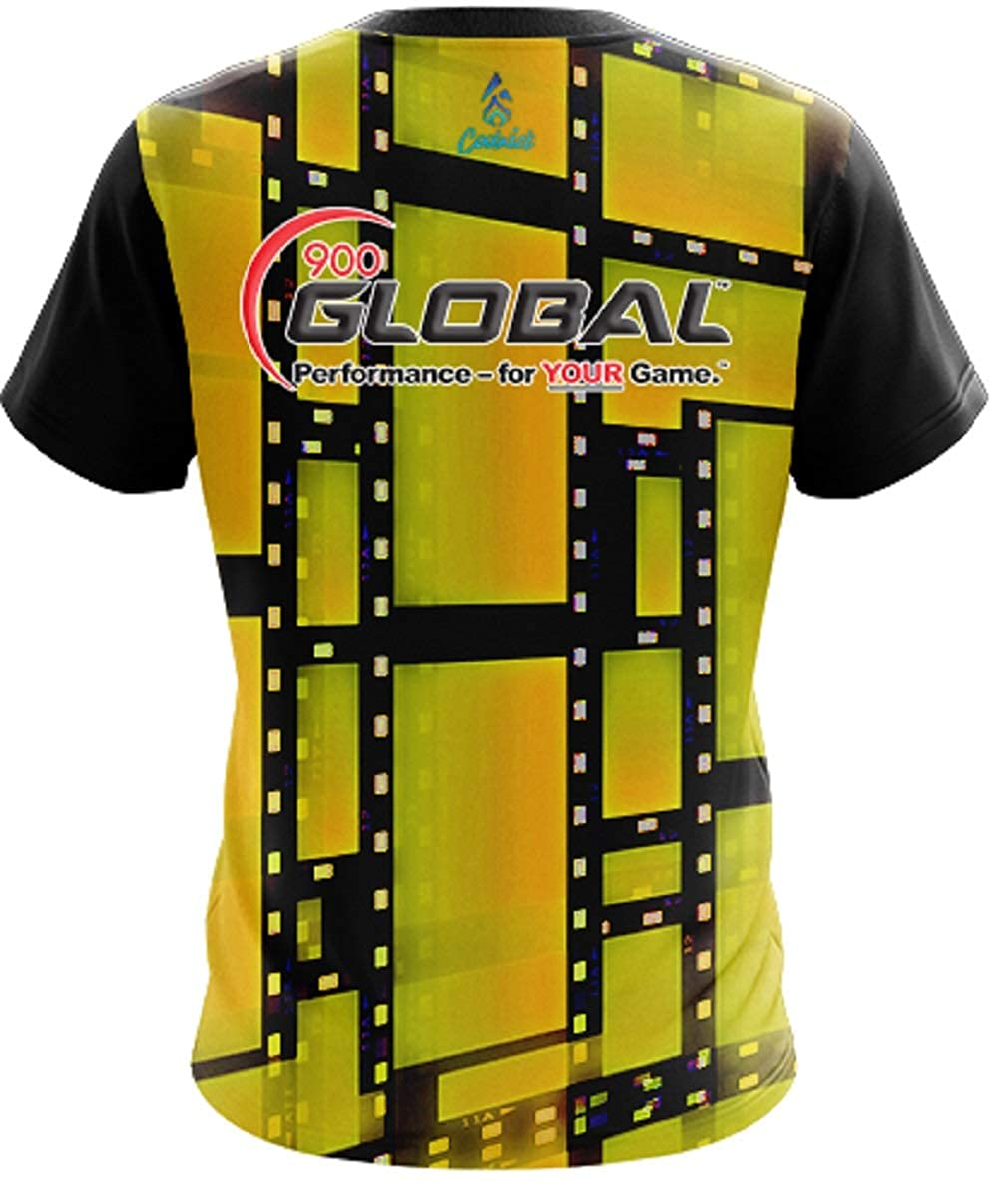 CoolWick 900 Global Mens Movie Reel Yellow Bowling Jersey