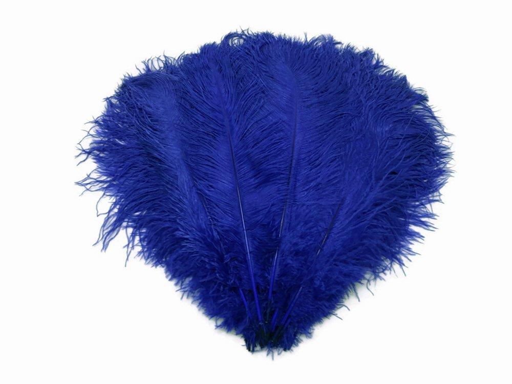 Ostrich Feathers | Ostrich Drab Wholesale Feathers (Bulk) - 1/2 Lb Royal Blue, 9-13''