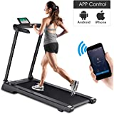 Goplus 2.25 HP Folding Electric Treadmill Free-Installation Design with App Control and LED Display