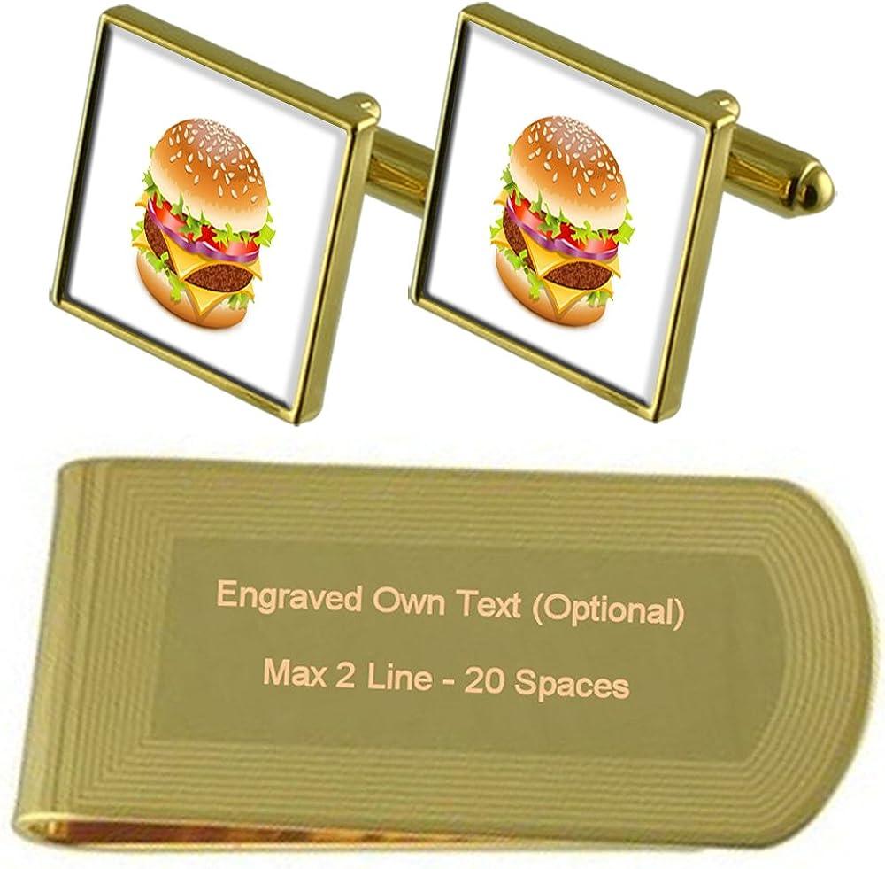 America Flag Gold-tone Cufflinks Money Clip Engraved Gift Set