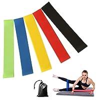 PUBAMALL Bandas de resistencia de ejercicio – Conjunto de 5, 12 pulgadas bandas de entrenamiento – Mejor para el estiramiento, terapia física, Yoga y Fitness en el hogar