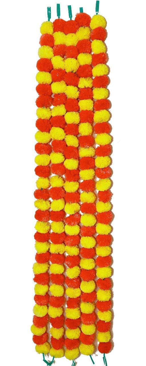 Phool Mala Artificial Flowers Marigold for Home Decoration Free Shipping