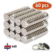 Aimant de néodyme 6 mm de diamètre x 3 mm d'épaisseur Traction Puissante pour Tableaux Blancs, Réfrigérateur, Tableau Magnétique 60 pièce …