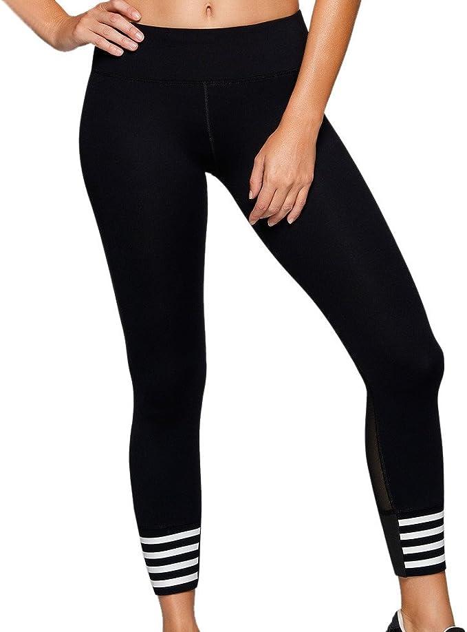VPASS Mujer Pantalones,Elásticos Impresión a Rayas Pantalones de ...