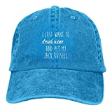 YueXiang I Just Want To Drink Wine and Pet My Jack Russell Adjustable Washed Cap Cowboy Baseball Hat Royalblue