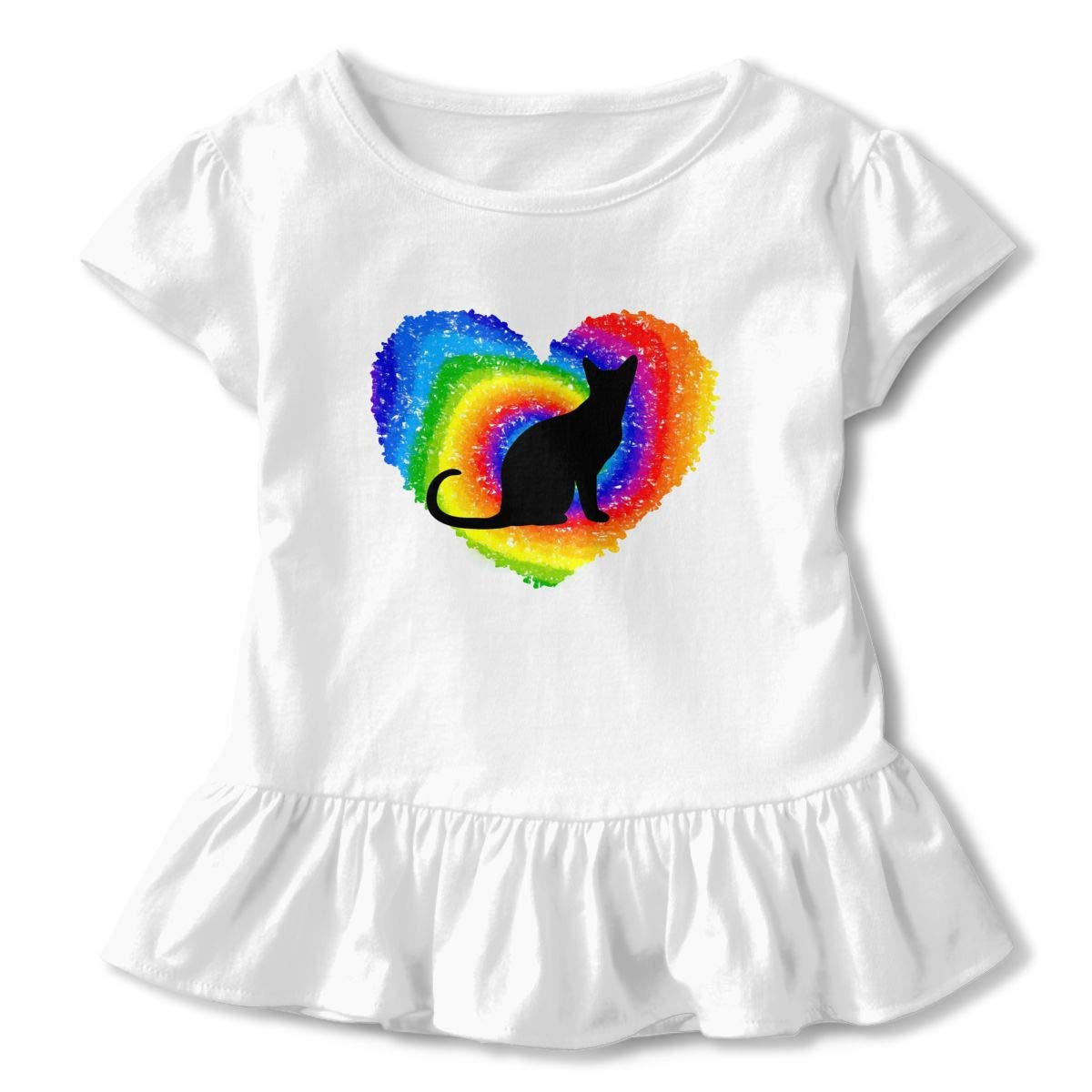 Rainbow Cats LGBT Toddler Baby Girls Short Sleeve Ruffle T-Shirt