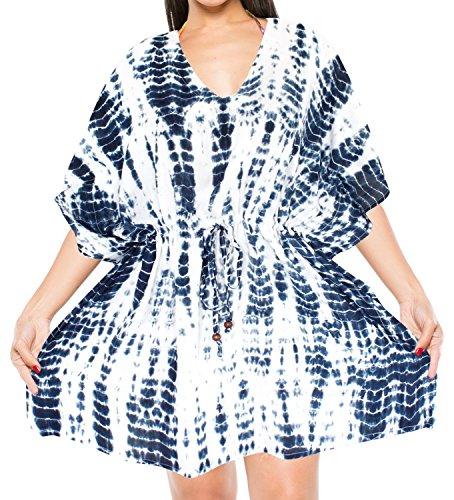 Dress Dye Heart Tie - LA LEELA Rayon Tie Dye Boho Dress Ladies OSFM 14-28 [L-4X] Navy Blue_6494