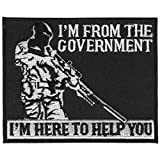 "Hot Leathers, IM FROM THE GOVERNMENT I'M HERE TO HELP YOU, Iron-On / Saw-On Rayon PATCH - 4"" x 3"""